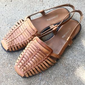 Vintage Leather Huarache Slingback Sandals